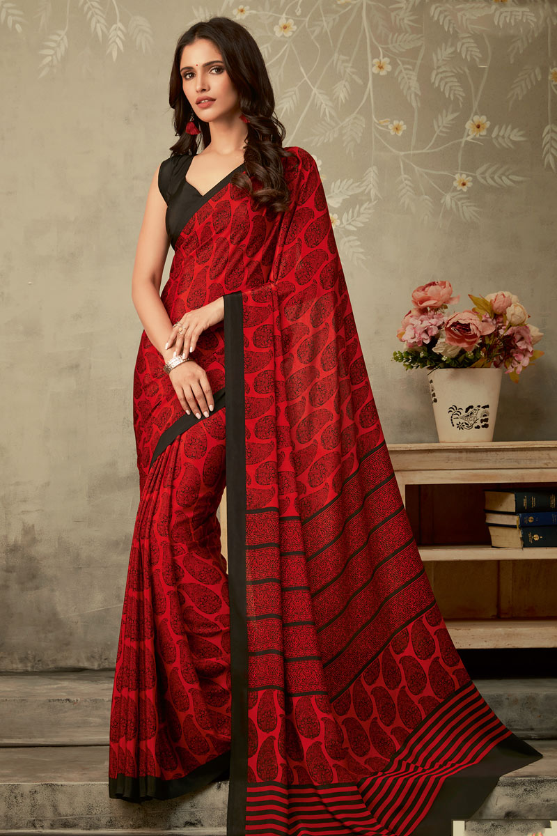 Fancy Red Color Crepe Fabric Daily Wear Printed Uniform Saree