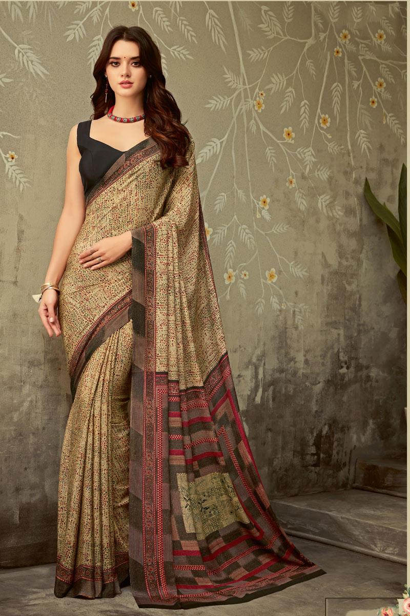 Beige Color Crepe Fabric Function Wear Printed Uniform Saree