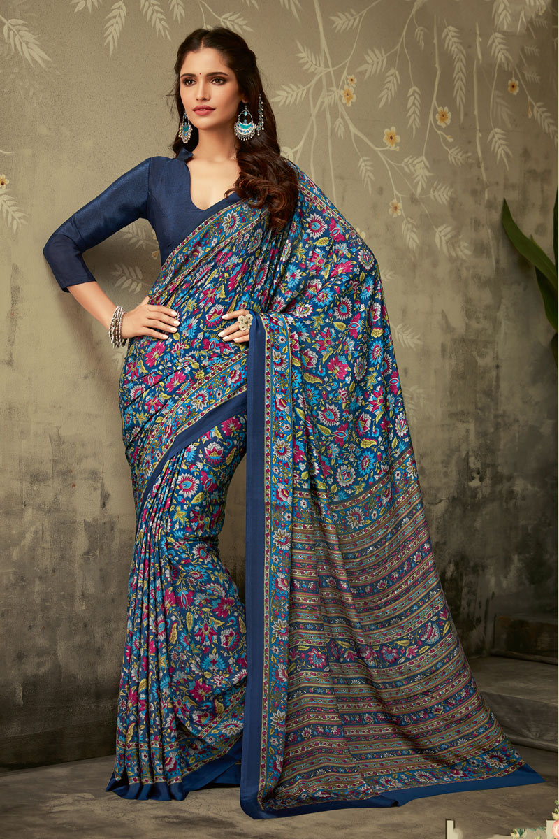 Navy Blue Color Printed Daily Wear Crepe Fabric Uniform Saree