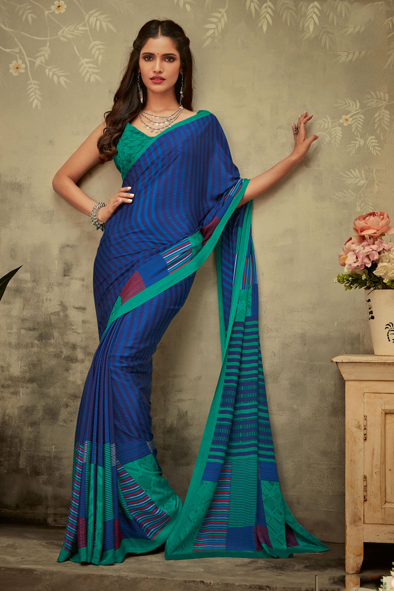 Printed Blue Color Fancy Uniform Saree In Crepe Fabric