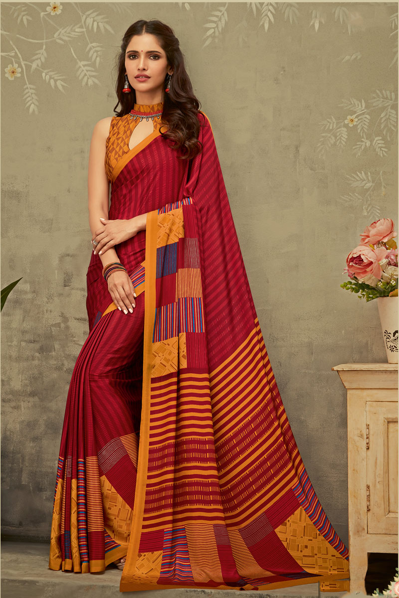 Printed Crepe Fabric Fancy Uniform Saree In Red Color