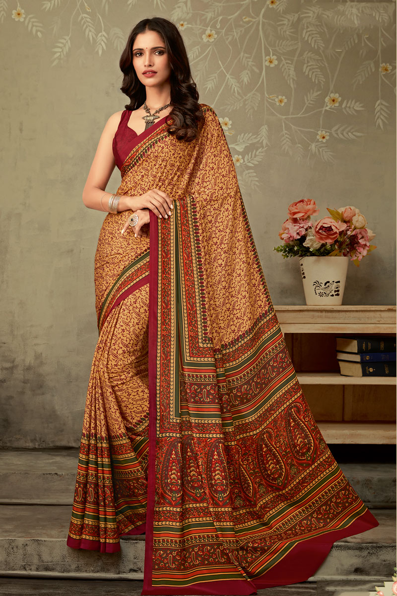 Cream Color Crepe Fabric Trendy Printed Daily Wear Uniform Saree