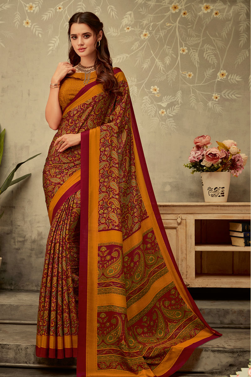Crepe Fabric Office Wear Stylish Printed Uniform Saree In Maroon Color