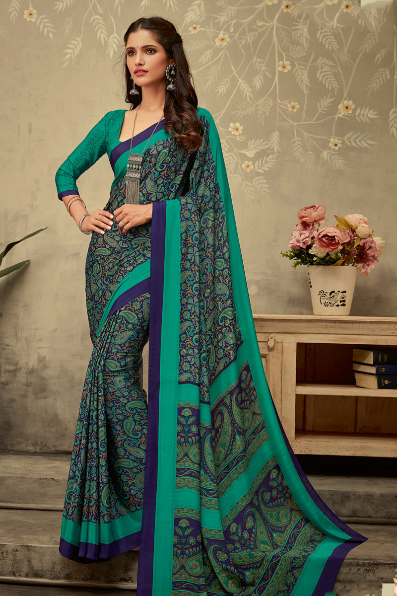 Turquoise Color Crepe Fabric Office Wear Printed Uniform Saree