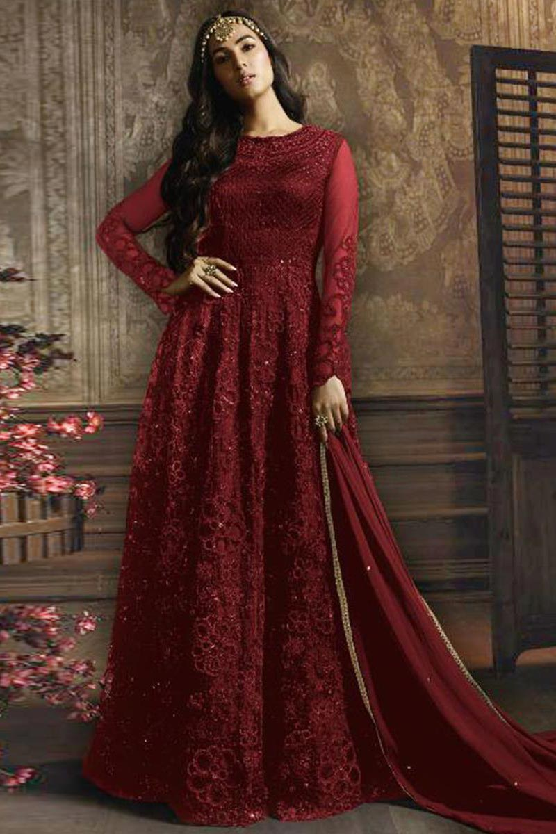 Sonal Chauhan Featuring Embroidery Designs On Red Color Net Fabric Function Wear Anarkali Salwar Suit