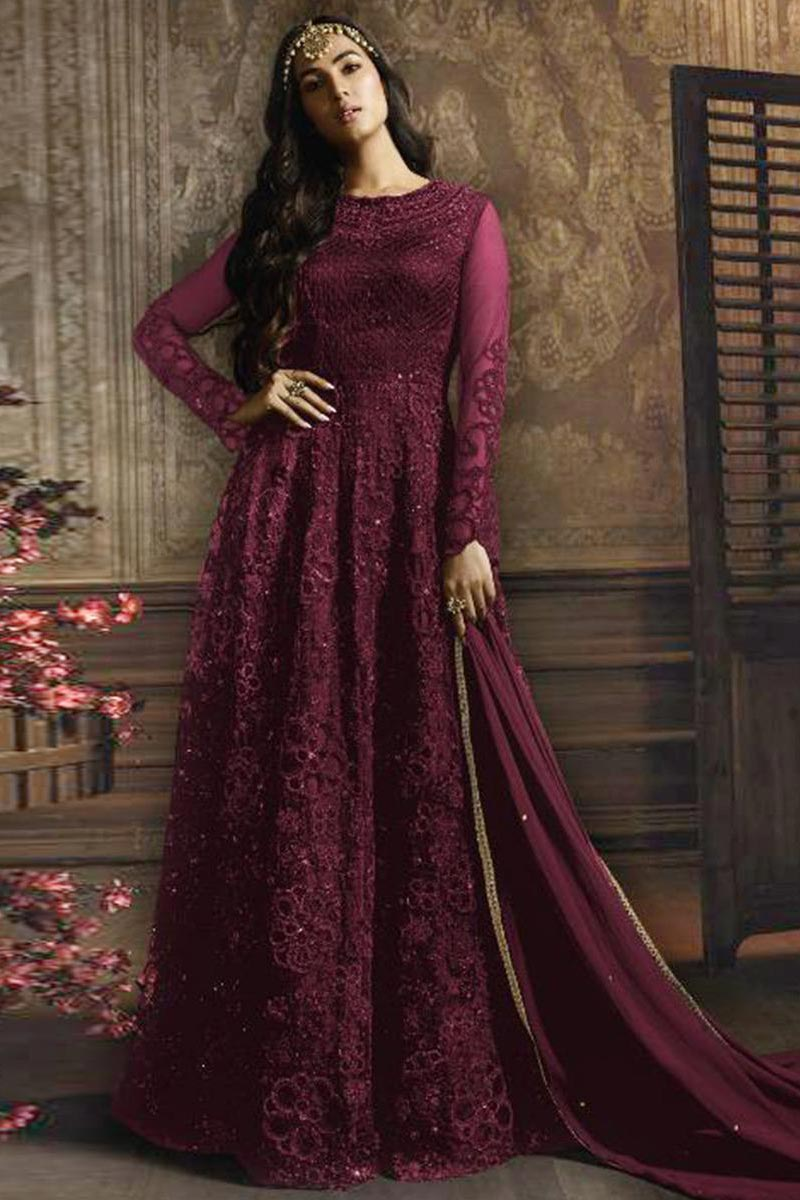 Eid Special Sonal Chauhan Featuring Embroidered Net Fabric Wine Color Function Wear Anarkali Suit