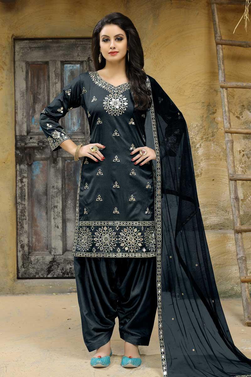 Taffeta Silk Fancy Embellished Patiala Dress In Grey Color