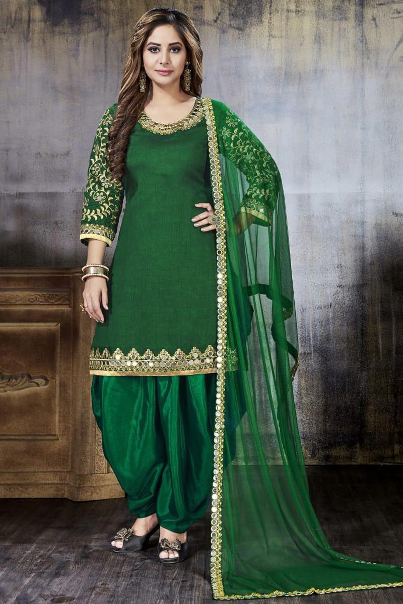 Embroidered Art Silk Dark Green Patiala Salwar Kameez