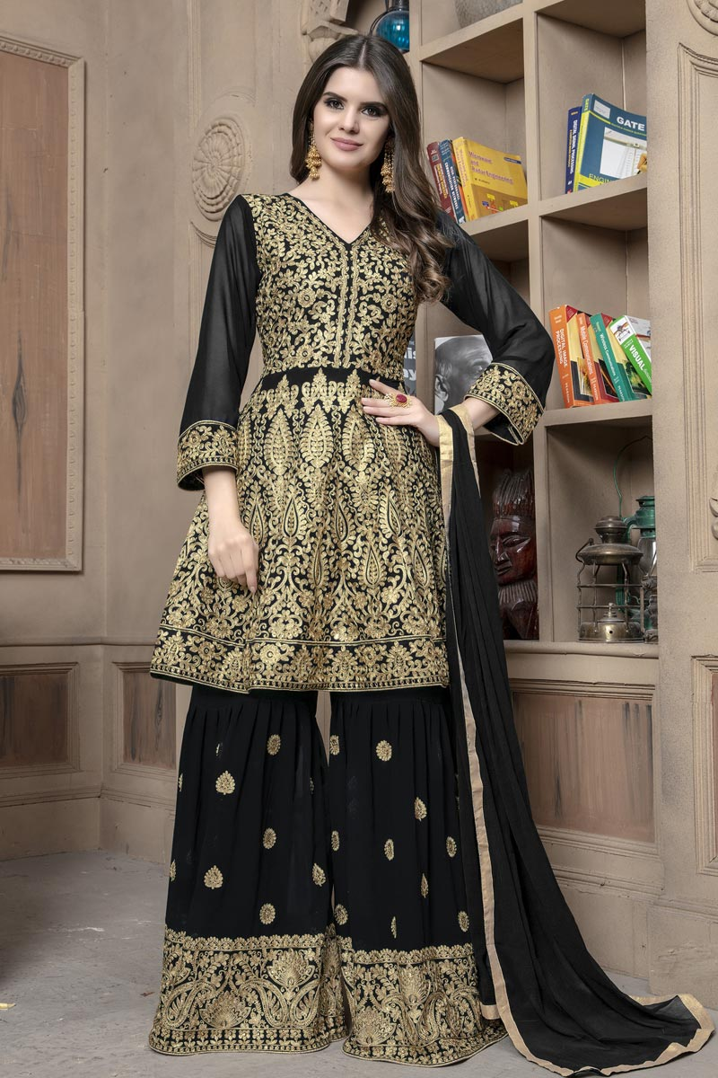 Embellished Georgette Fabric Designer Party Wear Sharara Palazzo Suit