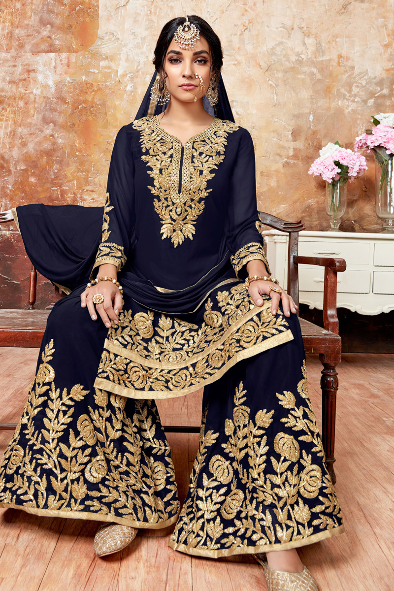 Navy Blue Embroidery Work Party Wear Sharara Palazzo Suit In Georgette Fabric