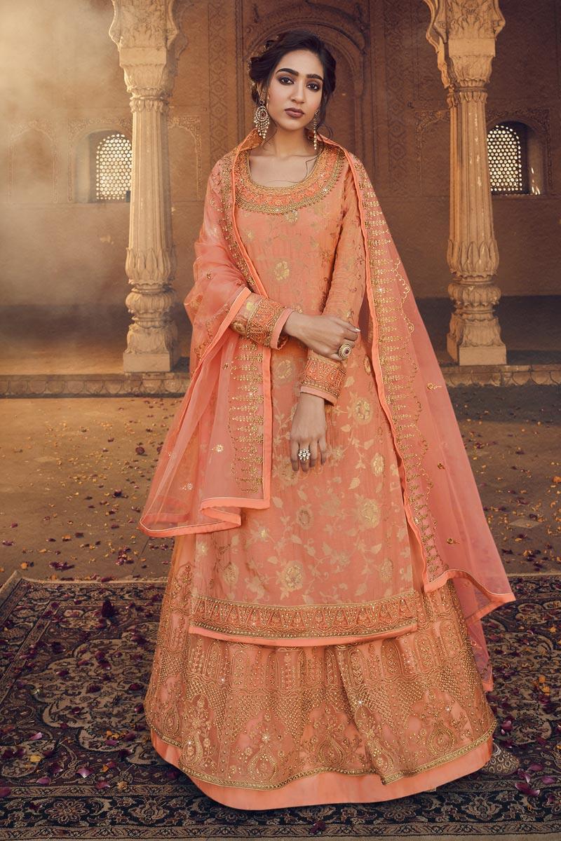 Peach Color Embroidery Work Designer Wedding Wear Jacquard Fabric Sharara Top Lehenga