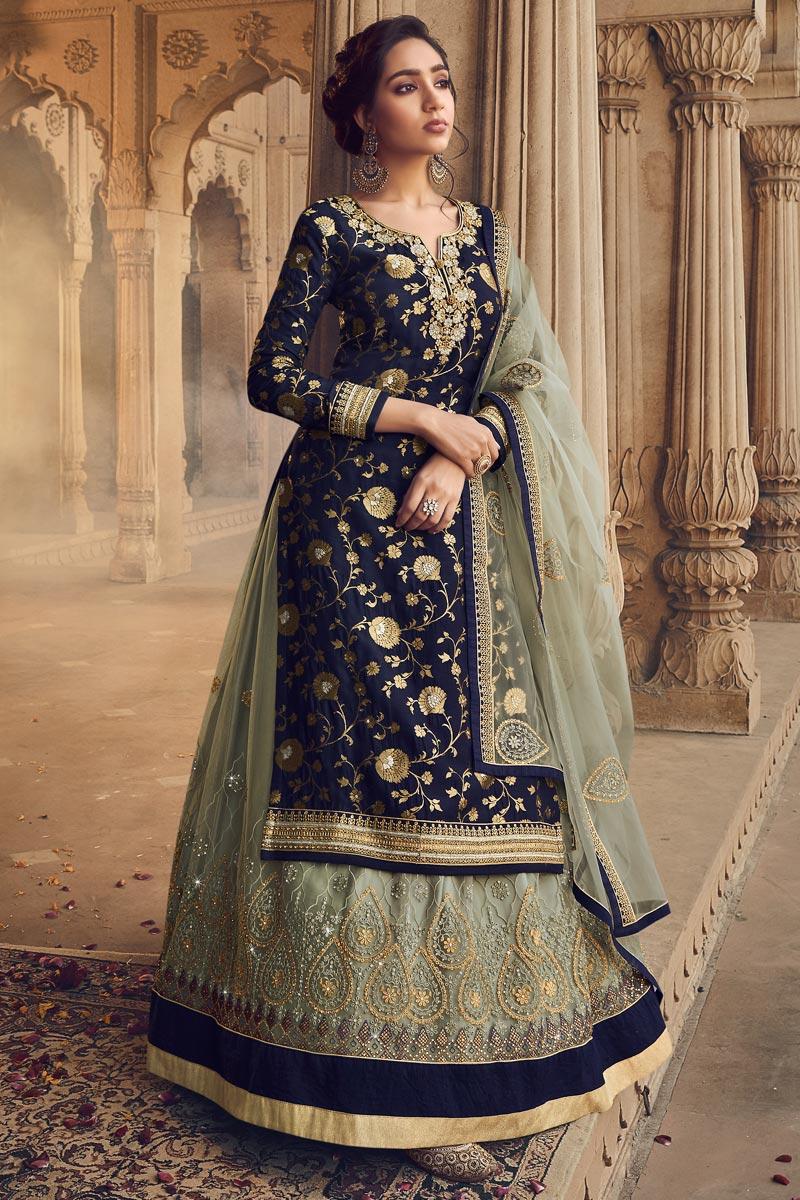 Navy Blue Color Jacquard Fabric Embroidery Work Function Wear Fancy Sharara Top Lehenga