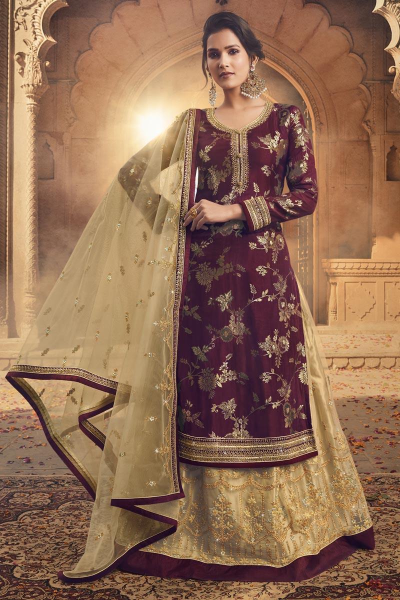 Jacquard Fabric Embroidery Work Festive Wear Trendy Sharara Top Lehenga In Wine Color