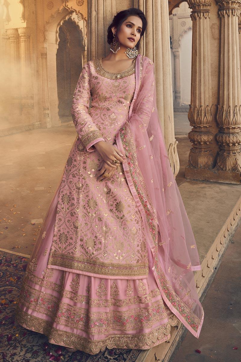 Embroidery Work Sangeet Wear Stylish Sharara Top Lehenga In Pink Color Jacquard Fabric