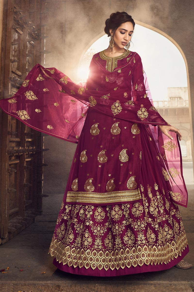 Jacquard Fabric Embroidery Work Wedding Wear Designer Sharara Top Lehenga In Burgundy Color