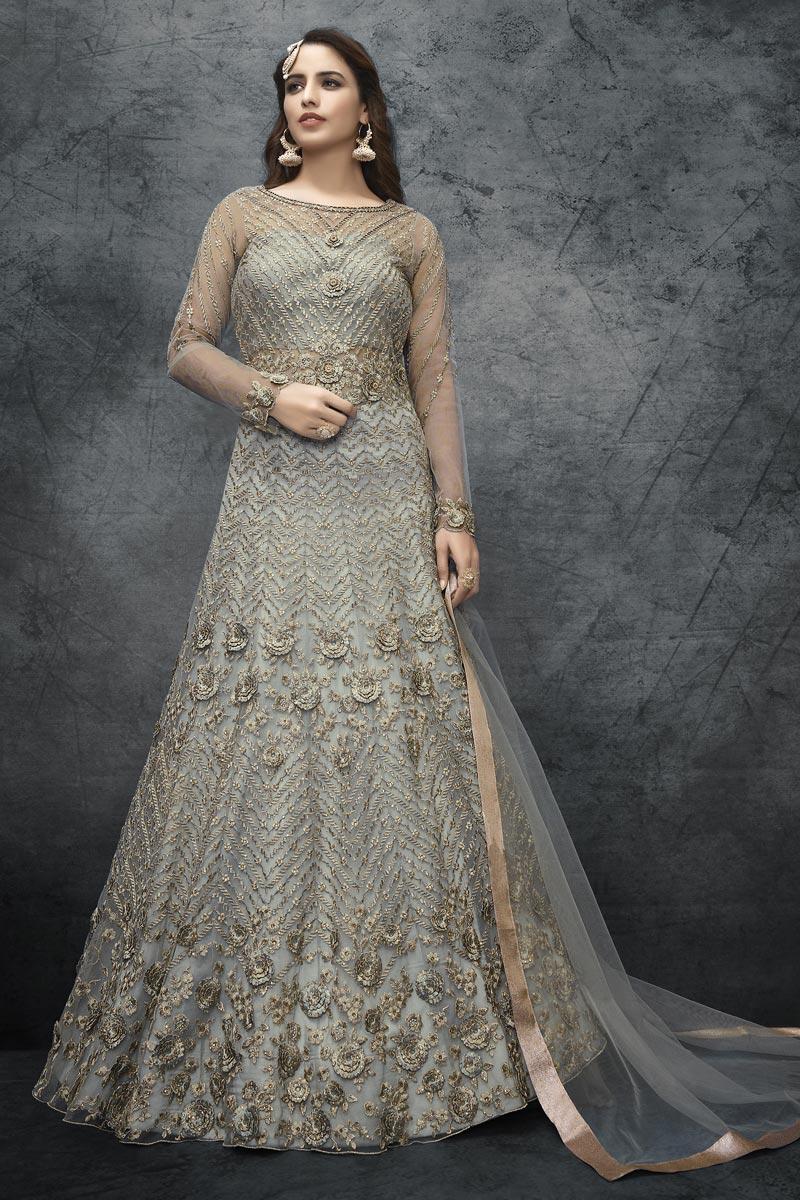 Grey Color Net Fabric Embroidery Work Sangeet Wear Anarkali Suit