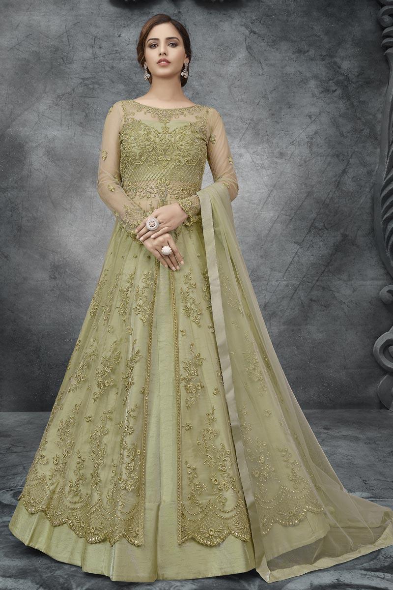 Net Fabric Embroidery Work Wedding Wear Anarkali Suit In Sea Green Color