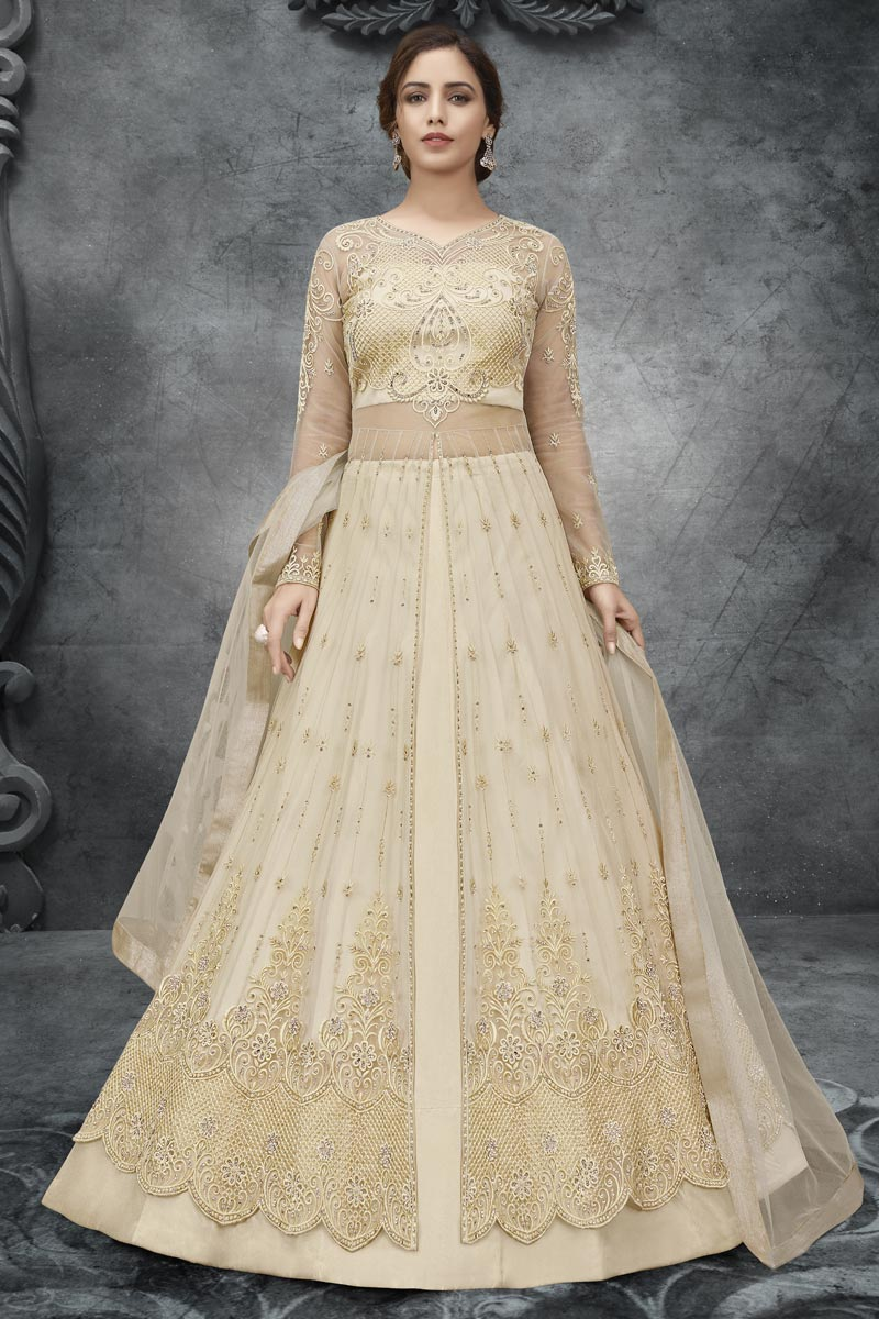 Net Fabric Embroidery Work Wedding Wear Designer Anarkali Suit In Beige Color