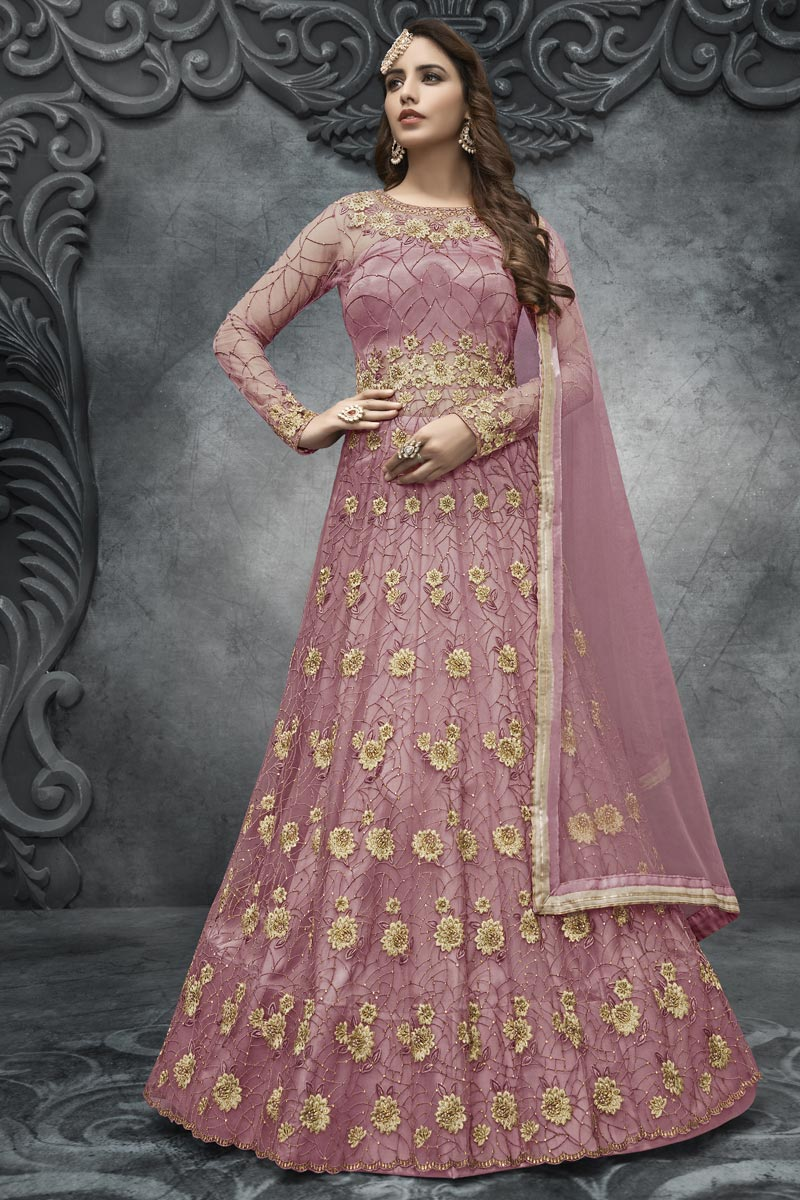 Pink Color Net Fabric Embroidery Work Reception Wear Anarkali Suit