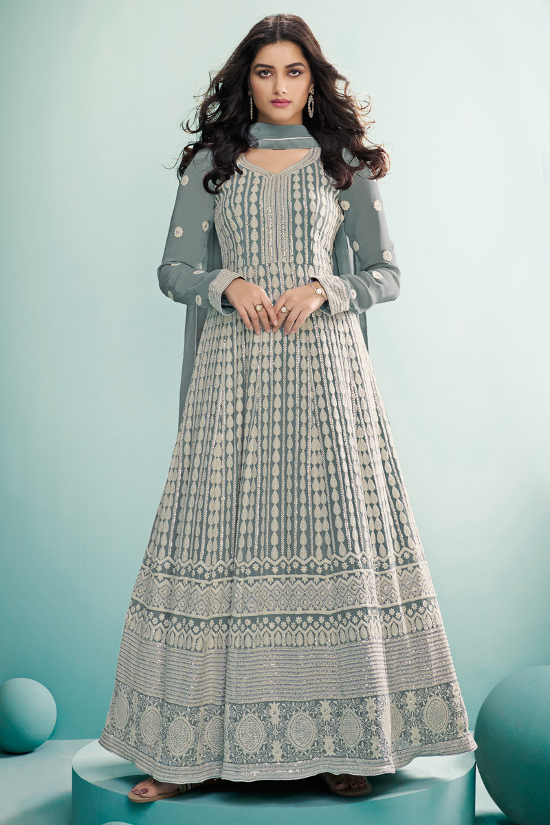 Grey Color Georgette Fabric Party Wear Designer Anarkali Suit