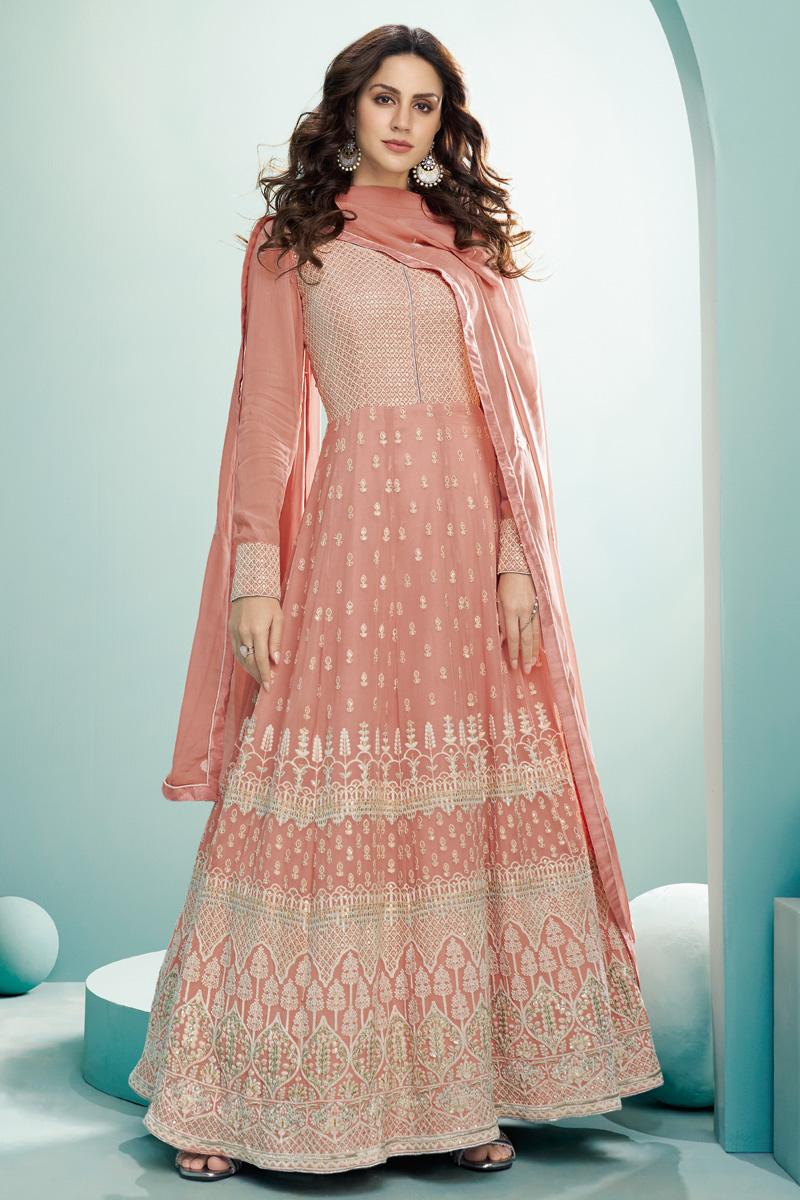 Georgette Fabric Function Wear Designer Anarkali Suit In Peach Color