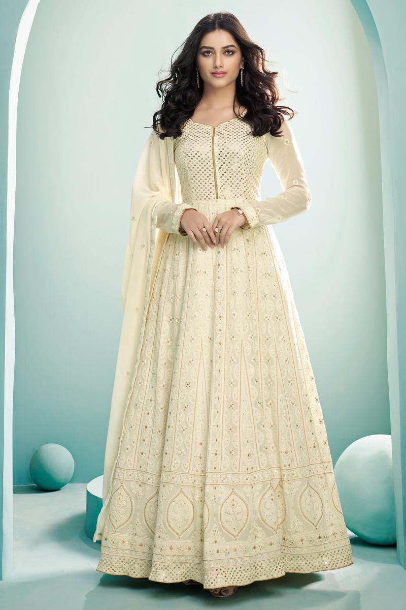 Festive Wear Designer Anarkali Salwar Suit In Beige Color Georgette Fabric