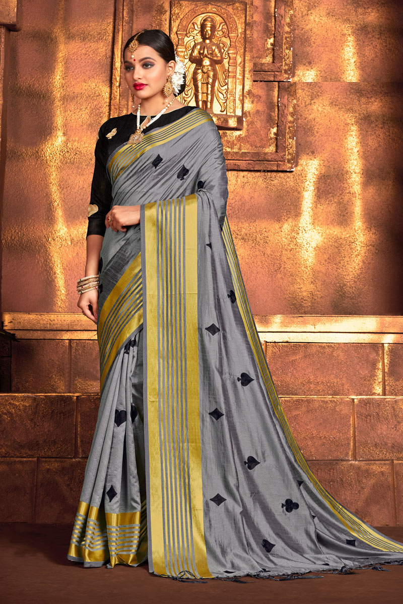 Grey Color Art Silk Fabric Occasion Wear Saree