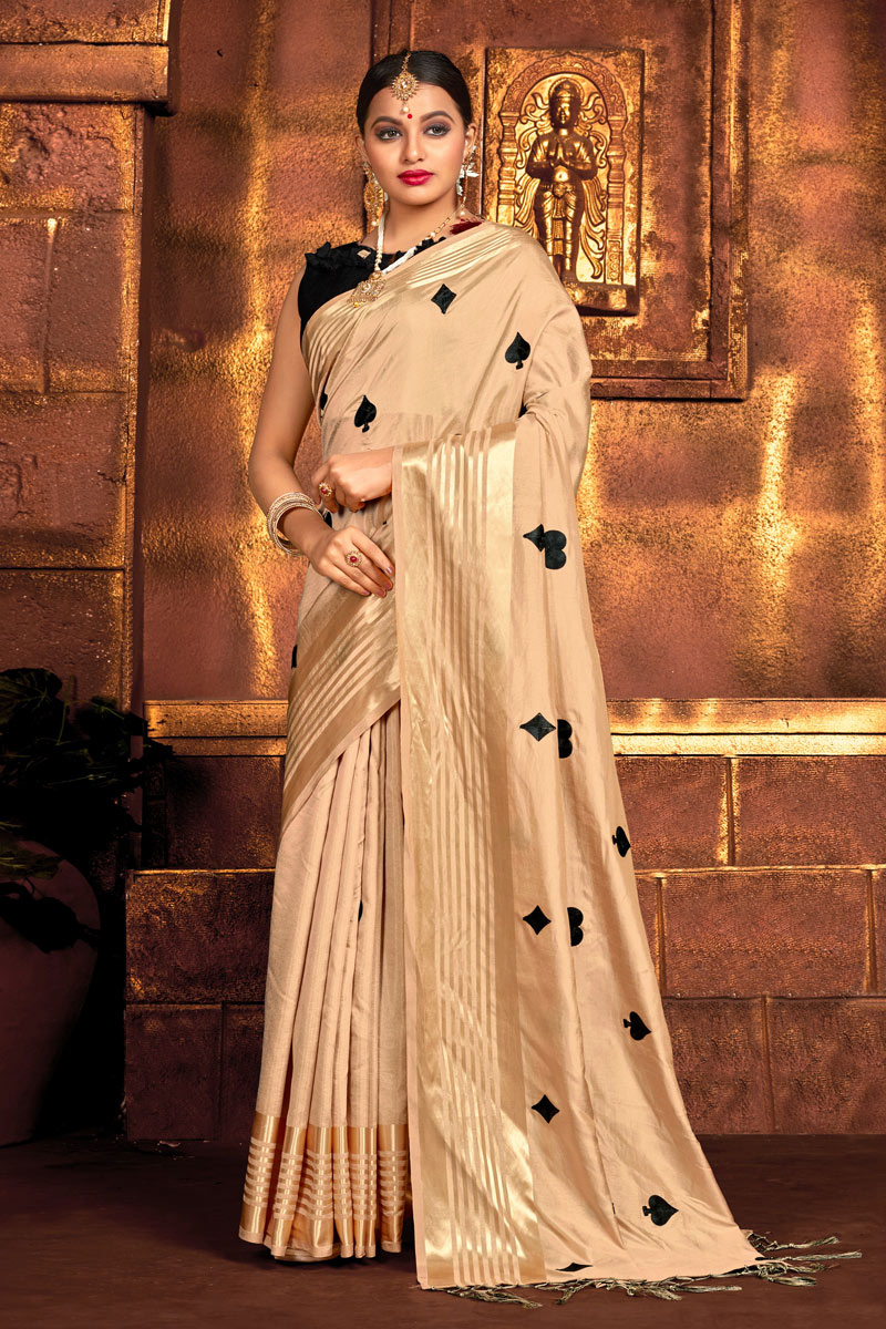 Function Wear Cream Color Embroidery Work Saree In Art Silk Fabric