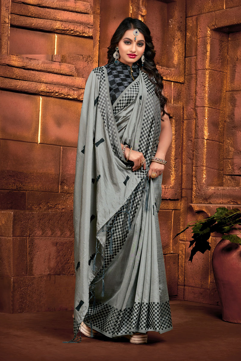 Embroidery Work Designs Grey Color Art Silk Fabric Party Wear Saree