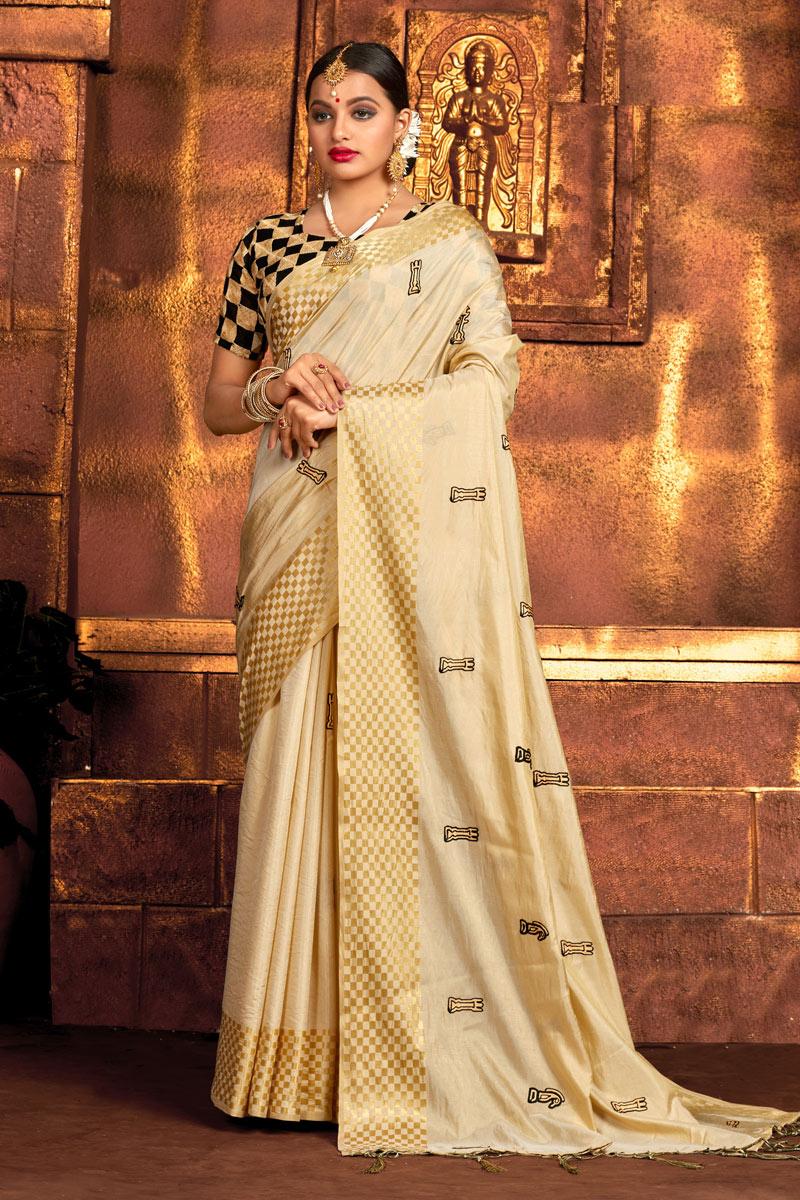 Art Silk Fabric Cream Color Saree