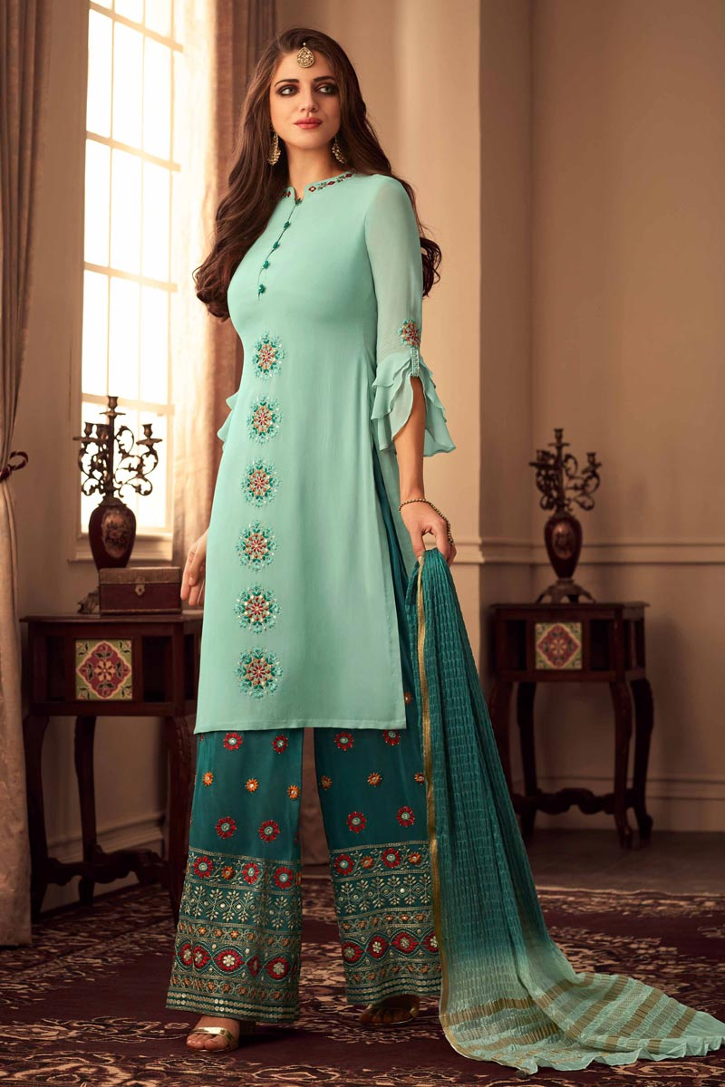 Party Style Sea Green Color Chic Embroidered Fancy Fabric Palazzo Suit