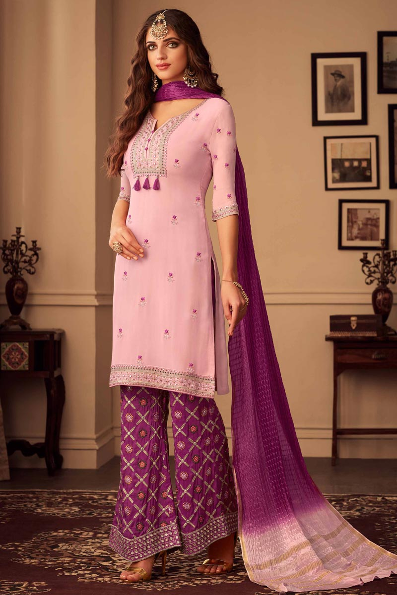 Chic Lavender Color Party Style Embroidered Fancy Fabric Palazzo Dress