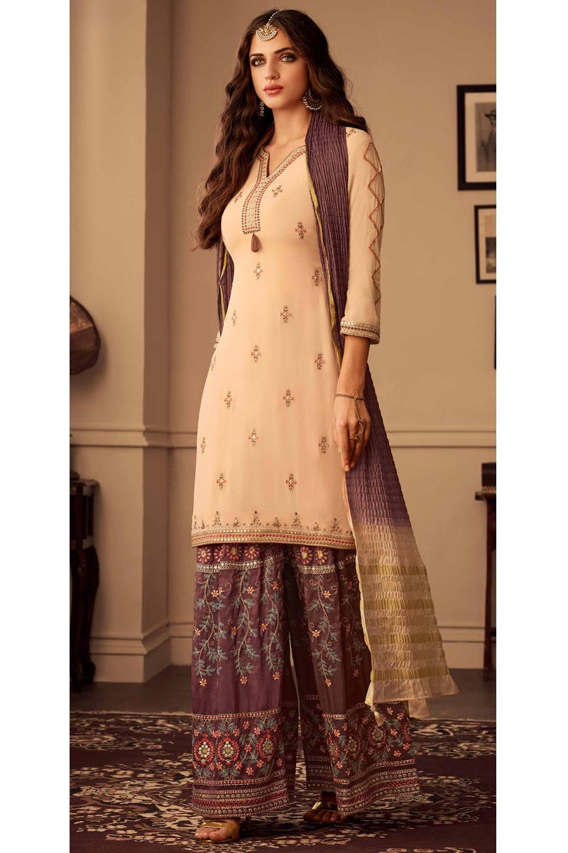 Party Style Chic Beige Color Embroidered Palazzo Suit In Fancy Fabric