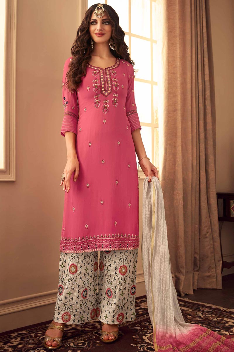 Chic Pink Color Fancy Fabric Party Style Embroidered Palazzo Dress
