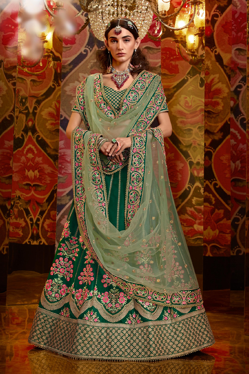 Embroidered Dark Green Color Wedding Lehenga