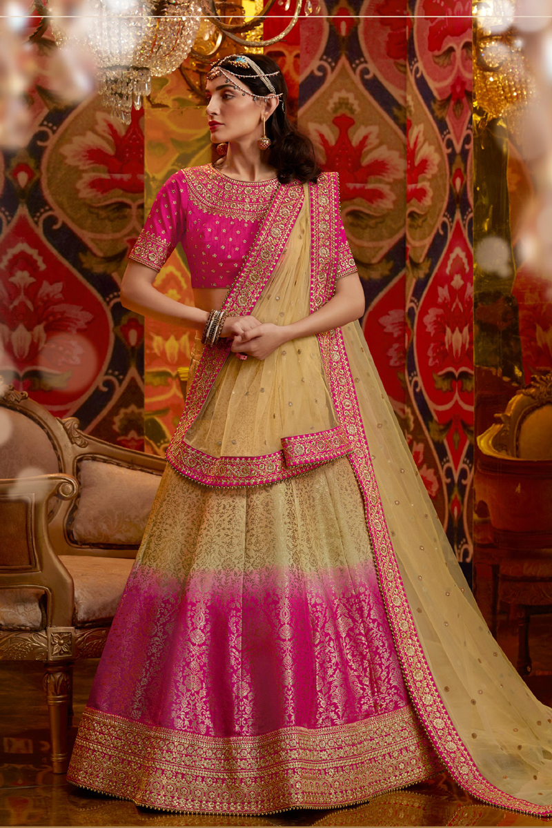 Festive Special Viscose And Silk Fabric Wedding Wear 3 Piece Lehenga