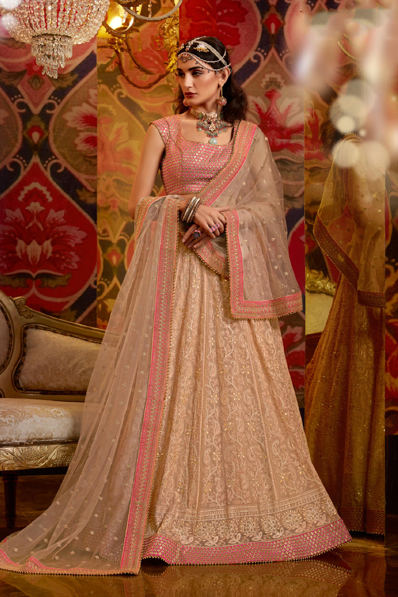 Viscose And Georgette Fabric Peach Color Wedding Wear 3 Piece Lehenga Choli