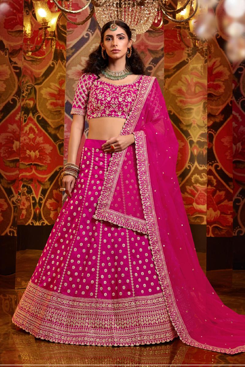 Embroidery Work Silk Fabric Designer Lehenga