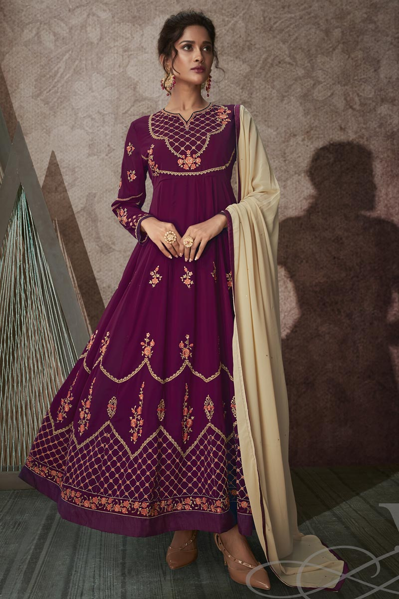 Purple Color Georgette Fabric Function Wear Embroidered Anarkali Suit