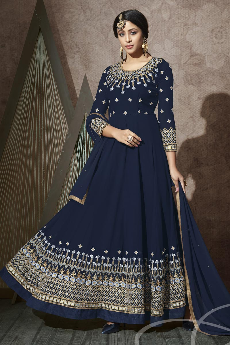 Occasion Wear Navy Blue Color Embroidered Anarkali Salwar Kameez