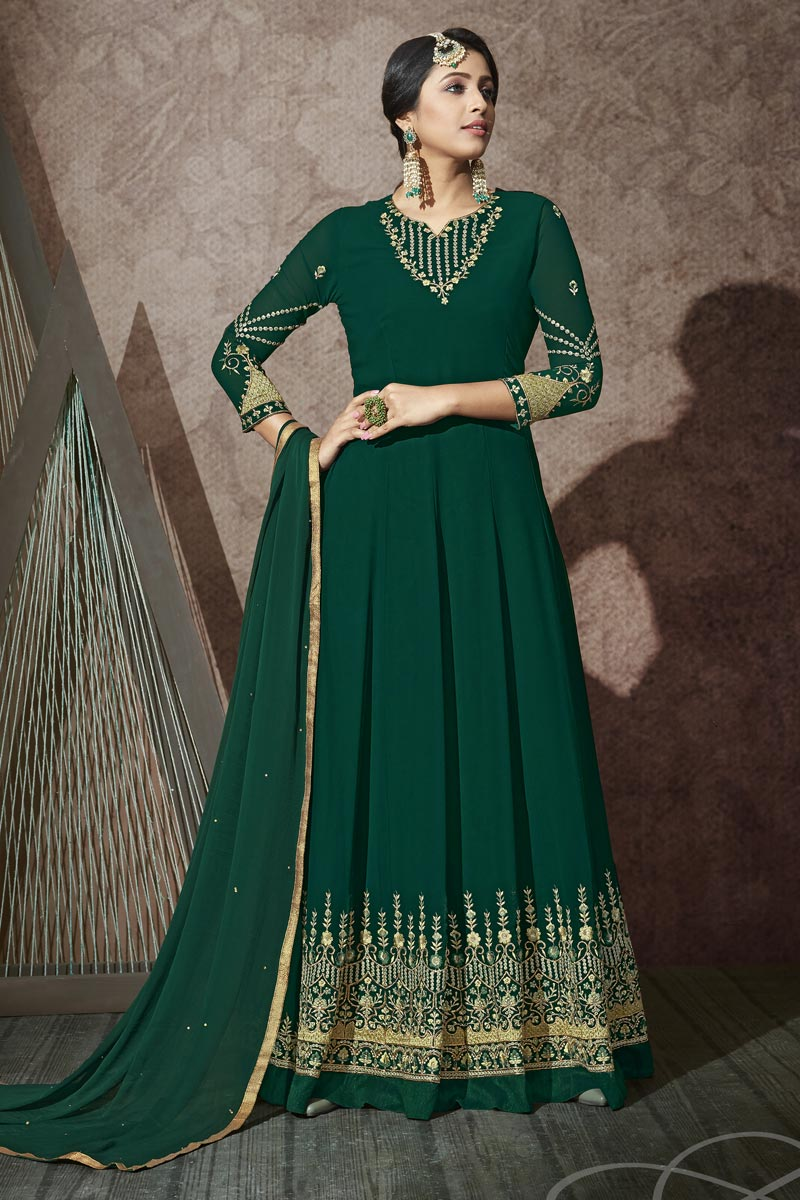 Embroidery Work Dark Green Color Georgette Fabric Anarkali Salwar Suit