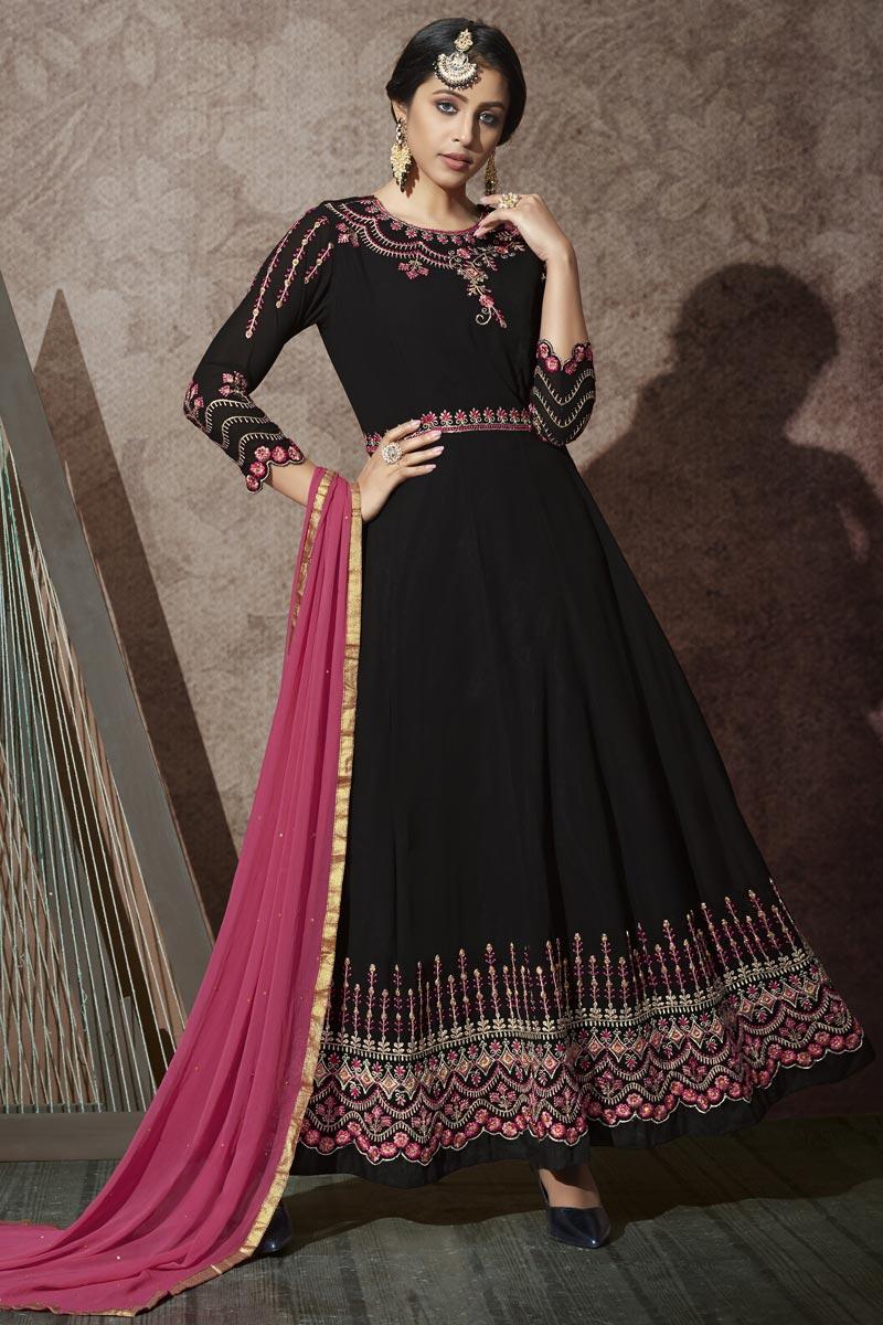 Georgette Fabric Black Color Anarkali Suit