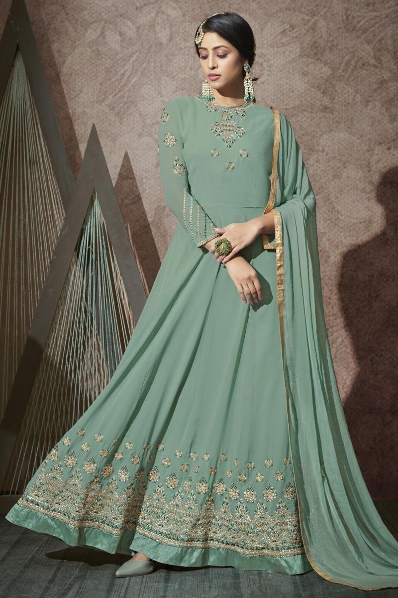 Sea Green Color Embroidered Georgette Fabric Party Wear Anarkali Salwar Kameez