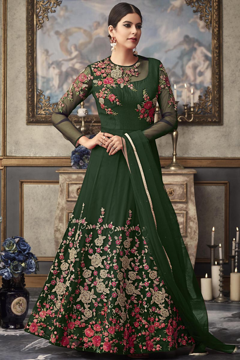 Party Wear Designer Embroidered Floor Length Anarkali Dress In Green Net Fabric