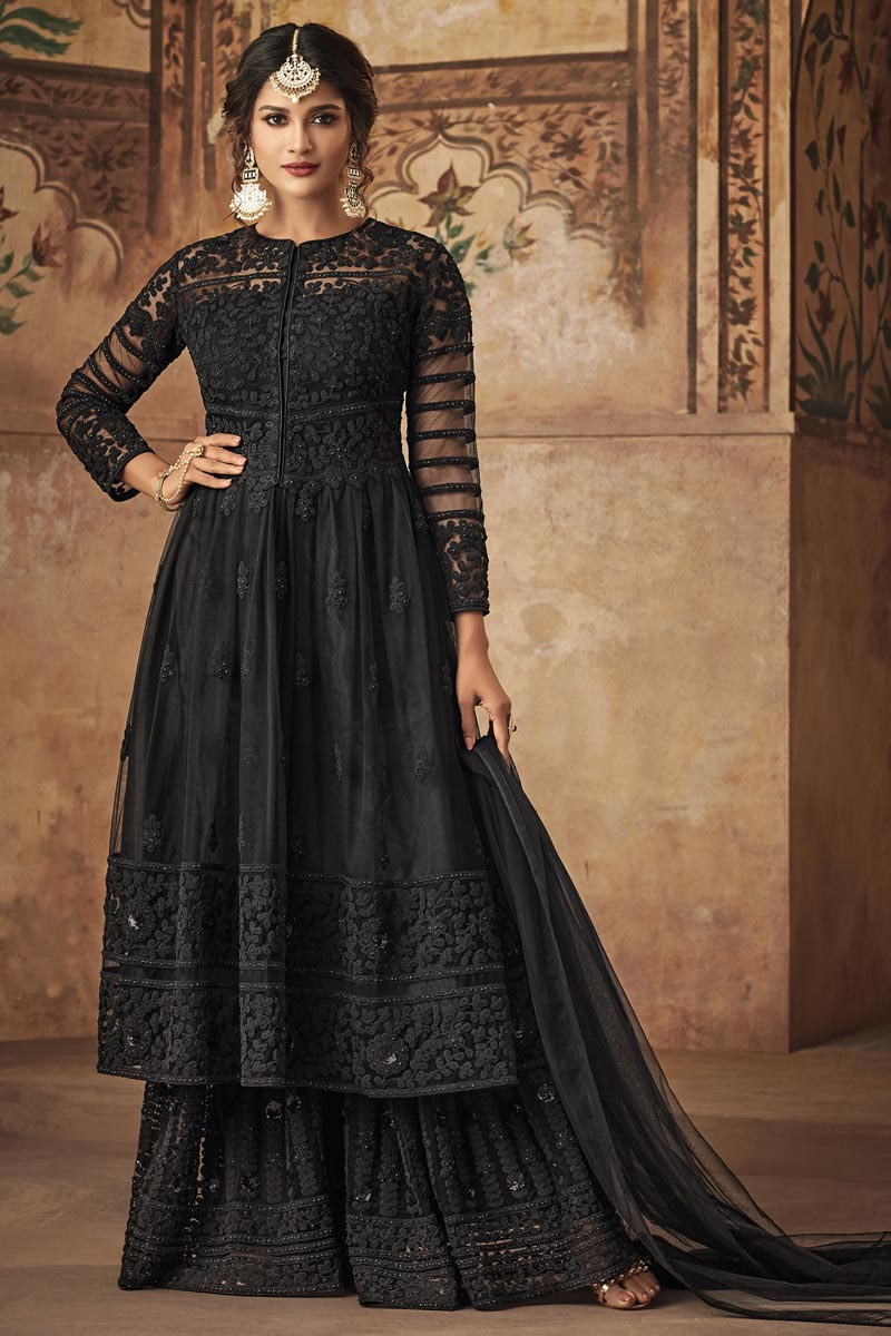 Net Fabric Fancy Black Function Wear Designer Sharara Dress With Embroidery