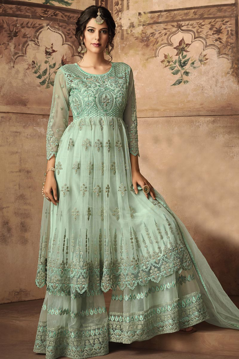 Fancy Cyan Function Wear Designer Embroidered Sharara Suit In Net Fabric