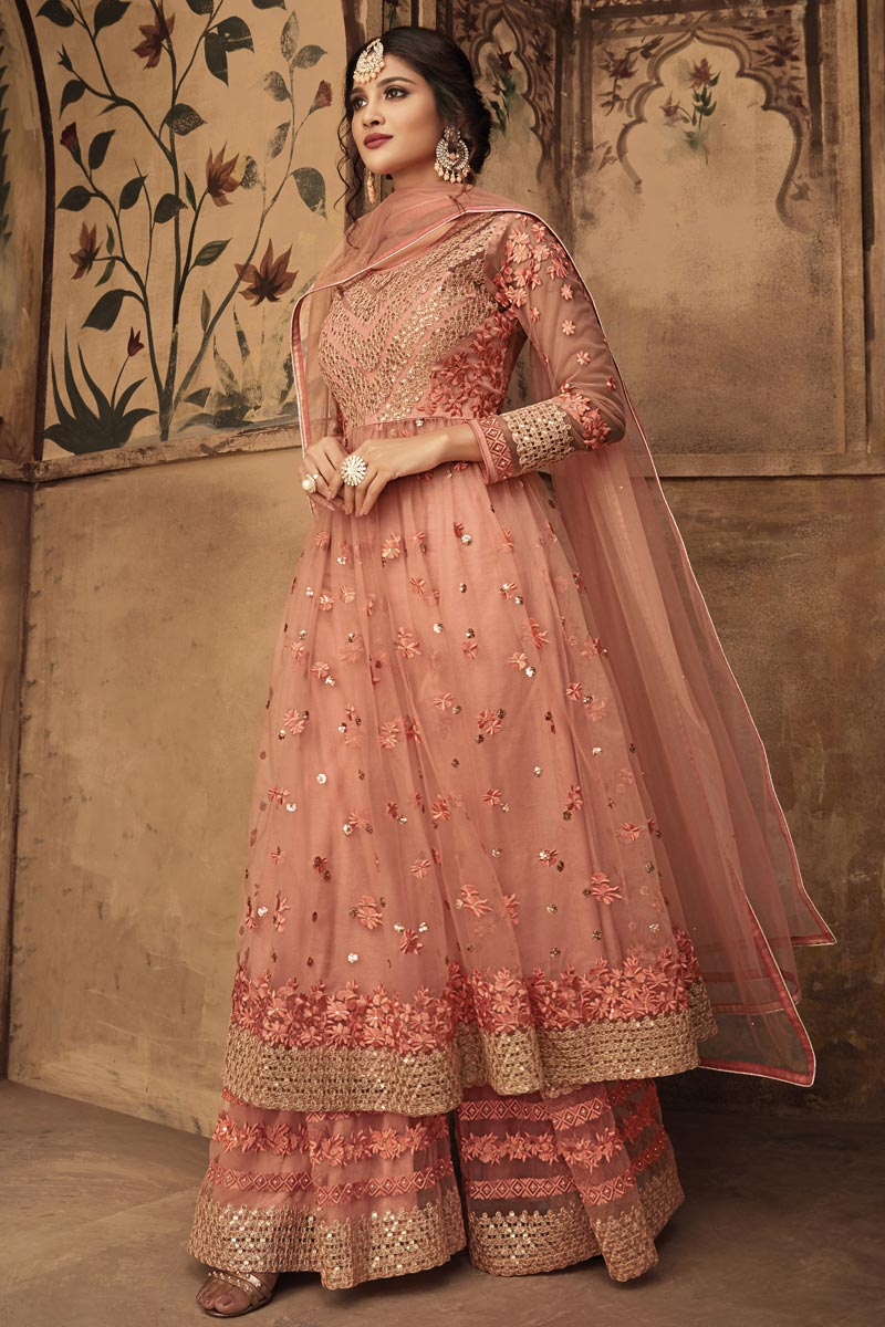 Net Fabric Function Wear Fancy Peach Sharara Suit With Embroidery Work