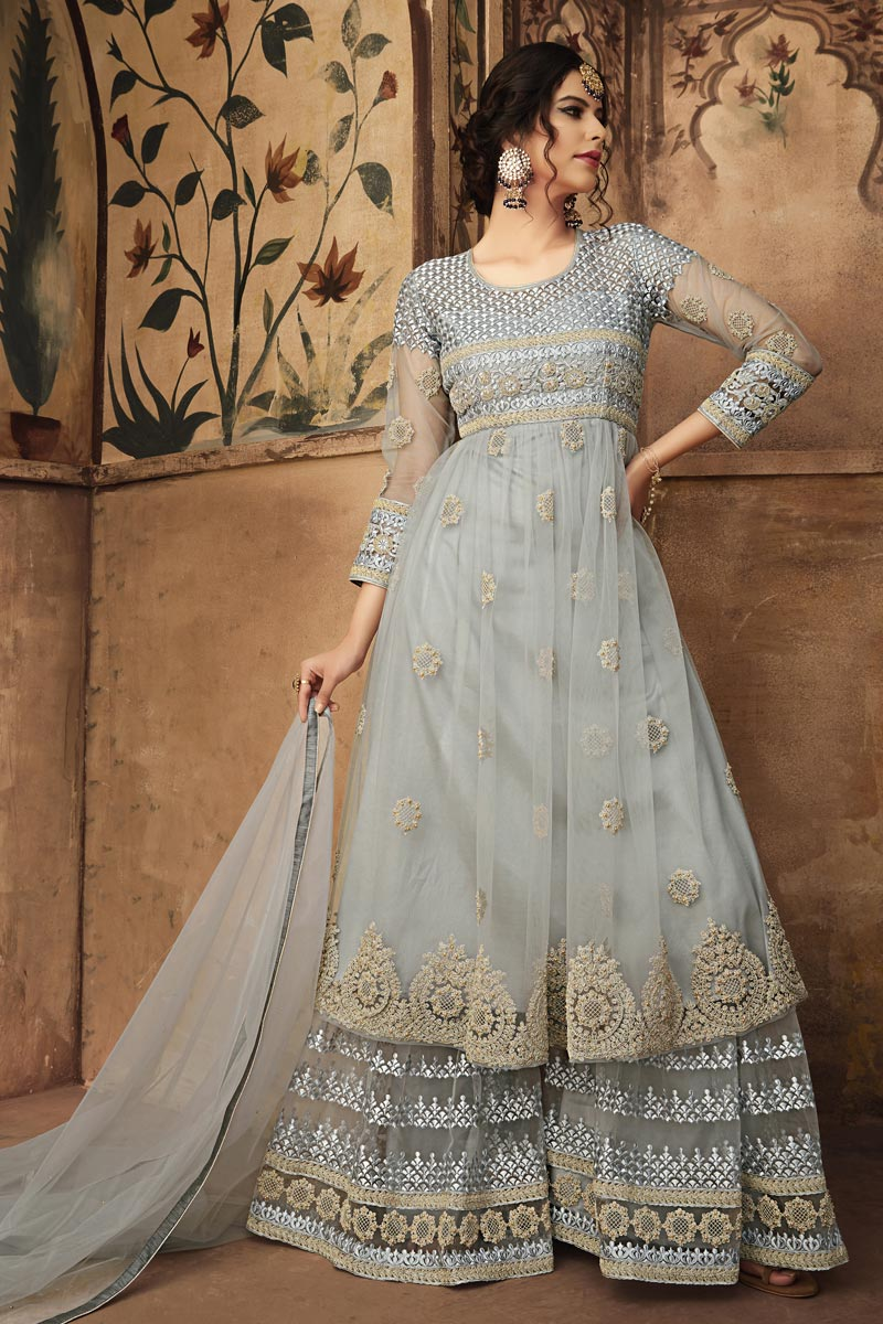 Function Wear Net Fabric Fancy Grey Designer Embroidered Sharara Suit