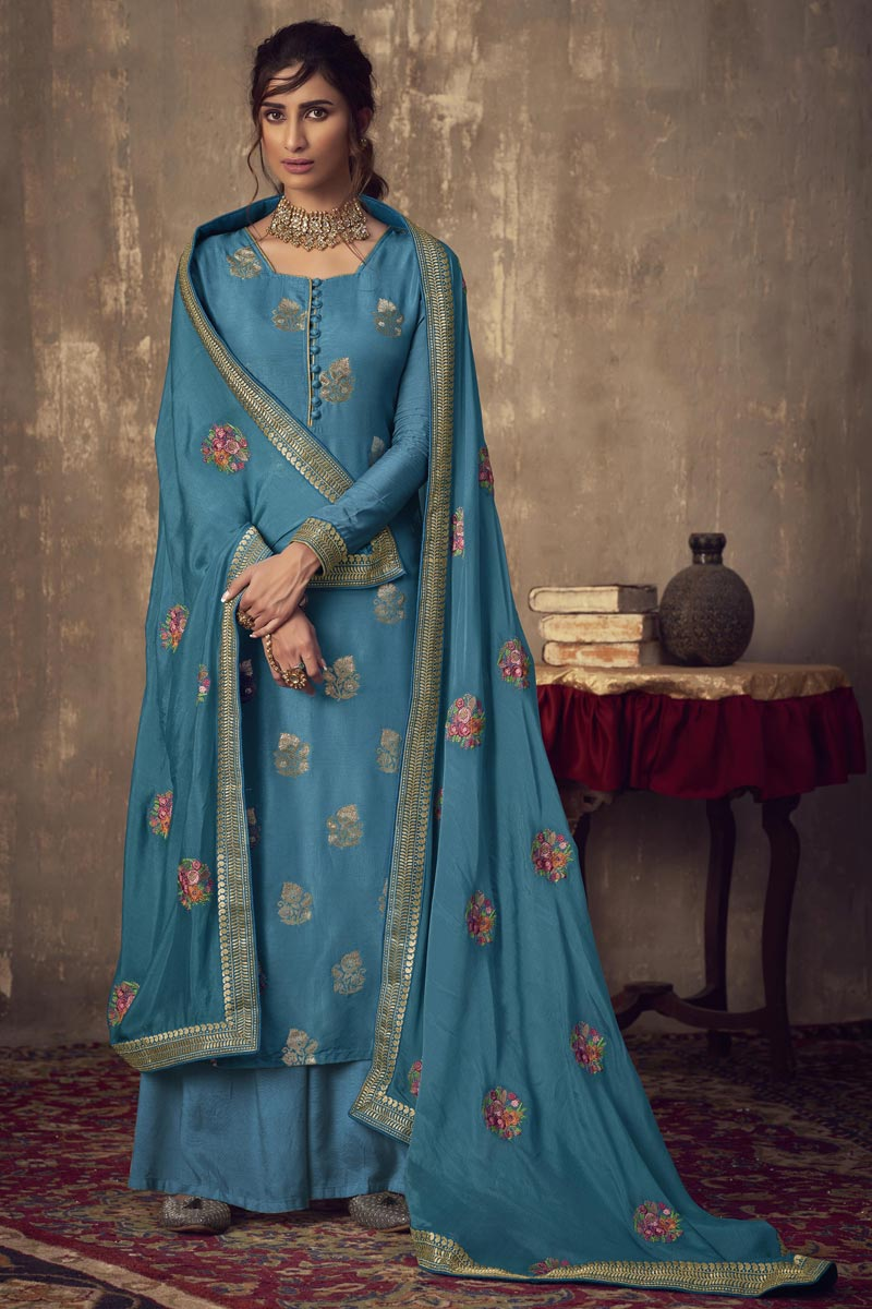 Designer Blue Color Party Style Embroidered Jacquard Fabric Palazzo Dress