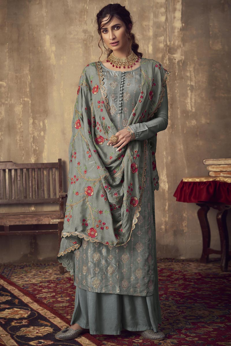 Party Style Grey Color Designer Jacquard Fabric Embroidered Palazzo Dress